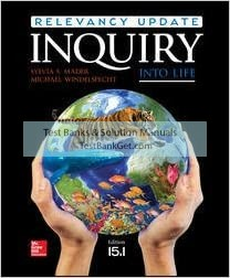 Test Bank ( Complete Download ) For Inquiry Into Life Relevancy Update 15.1   15th Edition   Sylvia S. Mader   Michael Windelspecht   ISBN: 9781260177671