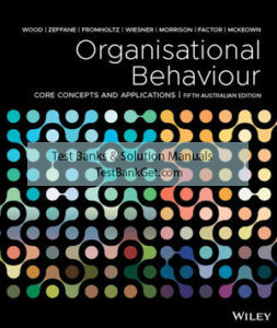 Solution Manual ( Complete Download ) For Organisational Behaviour: Core Concepts and Applications | 5th Australasian Edition | Jack Maxwell Wood | Rachid M. Zeffane | Michele Fromholtz | Retha Wiesner | Rachel R. Morrison | Aharon Factor | Tui McKeown | ISBN: 9780730355359