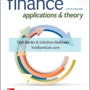 Solution Manual( Complete Download ) For Finance: Applications and Theory | 5th Edition | Marcia Cornett | Troy Adair | John Nofsinger | ISBN 10: 1260013987 | ISBN 13: 9781260013986