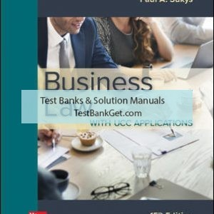 Solution Manual ( Complete Download ) for Business Law with UCC Applications | 15th Edition | Paul Sukys | ISBN 10: 1259998169 | ISBN 13: 9781259998164